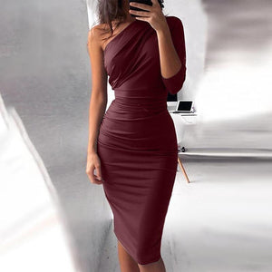 Bigsweety New Sexy One Shoulder Bodycon Party Dresses Elegant Women Casual Midi Sheath Slim Bodycon Dress Package Hip Midi Dress - Swans Today