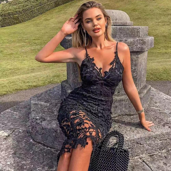 Black Lace Sexy Dress 2020 V Neck Off Shoulder Lace Hollow Out Dresses 2020 Solid Color Knee-length Elegant Lace Dress 2020 - Swans Today