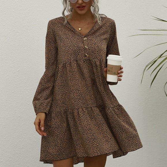 Fall Clothing Casual V Neck Button Leopard Long Sleeve Women Dress Fall Dress Casual Women A Line Dress Winter Dress Women