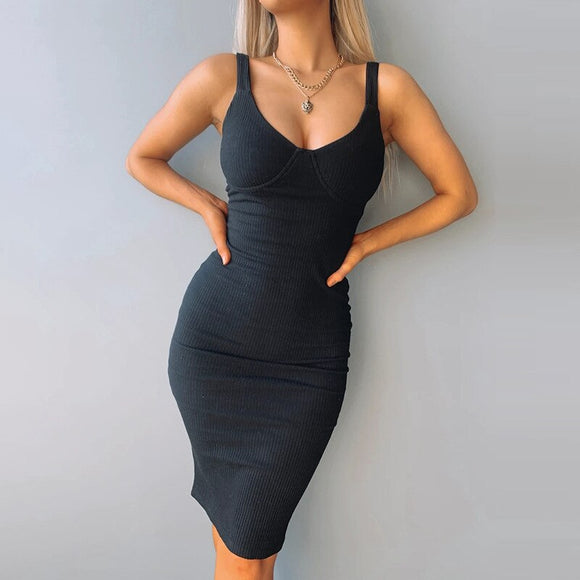 Summer Dresses 2020 Women Knitted Sleeveless Solid Color Dresses Ladies Casual Club Sexy Slim High Elastic Knee-Length Dresses