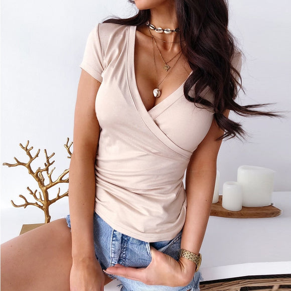 2019 Women Summer Clothing Short Sleeve Deep V Neck Pink White Women Shirt Bodycon Sexy Women Tops Sexy Tops