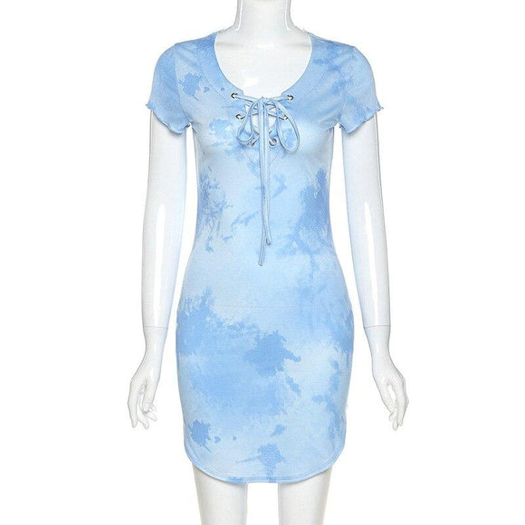 Hot Summer Style Home Clothes 2020 Sexy Short Sleeve Blue Pink Print Women Dress High Street Elegant Evening Party Dress - Swans Today