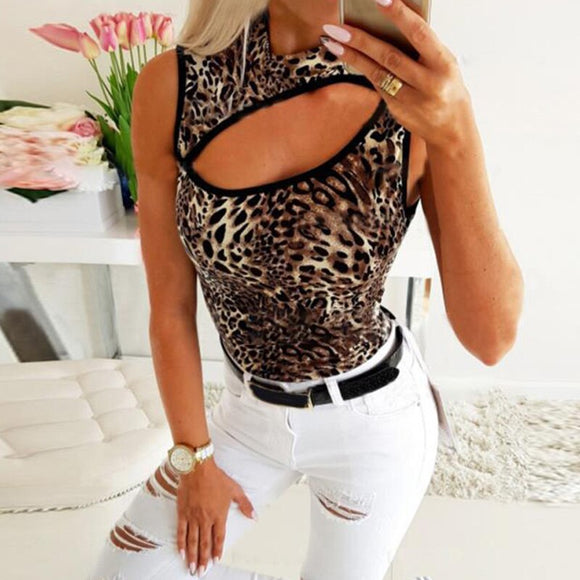 Fashion Sexy Leopard Pritned Hollow Out Sleeveless Turtleneck Women Blouse Sexy Women Tops and Shirt Summer Clothing
