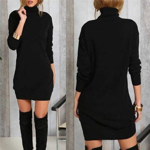 Fashion Warm Turtleneck Long Sleeve Dress Charm Women Vestidos Fall Winter Cotton Blend Mini Dress Casual Solid Dresses - Swans Today