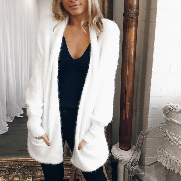 Autumn Jacket Pockets Coat White Knitted Tops Cardigans Open Stitch Coats And Jackets Women Casual Loose Streetwear