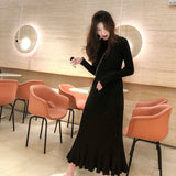 sweater dress women thick mermaid maxi o-neck long sleeve knitted dress 2019 autumn winter elegant female a-line slim sexy dress