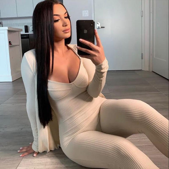 FASHSTREET Sexy Knitted Elastic Spaghetti Strap Bodycon Jumpsuits 2020 Summer Women Solid Low Cut Backless Party Streetwear Body - Swans Today