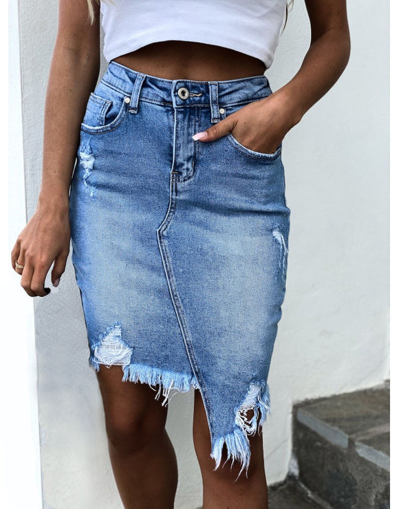 Hot sale summer woman denim skirt trendy irregular Ripped jeans skirt sexy slim Pack hips mini skirt S-XL drop shipping new