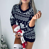 New Women Fashion Autumn Winter Long Sleeve Loose Christmas Dresses Ladies Christmas Print  A-line Mini Dress 2020
