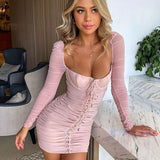 Women Winter Fashion 2020 Sexy Long Sleeve Pink White High Street Elegant Evening Party Dress