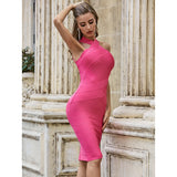 High Quality Pink Celebrity Sleeveless Bodycon Rayon Bandage Dress Elegant Evening Party Dress Vestidos