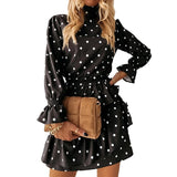 Autumn Casual Cascading Ruffle Polka Dot Dress Women Winter Long Sleeve Turtleneck A Line Print Dress Elegant Mini Party Vestido - Swans Today