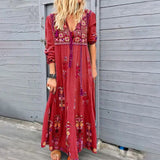Bohemian Women Beach Maxi Dresses Drawstring V-neck Long Sleeve Dress Ladies Casual Loose Floral Printed Vestidos