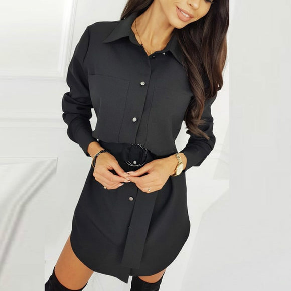 Fashion Casual Shirt Dress Fall Clothing Casual Solid Color Long Sleeve Button Turndowen Collar Women Mini Dress