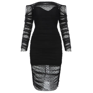 new Slash neck See Thought Black Long Sleeve summer for women Dress Bodycon Dresses Elegant Celebrity  Party Vestidos
