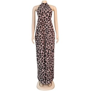 STYLISH LADY Leopard Printed Wide Leg Rompers and Jumpsuits 2020 Summer Women Sleeveless Halter Backless Club Party Overalls