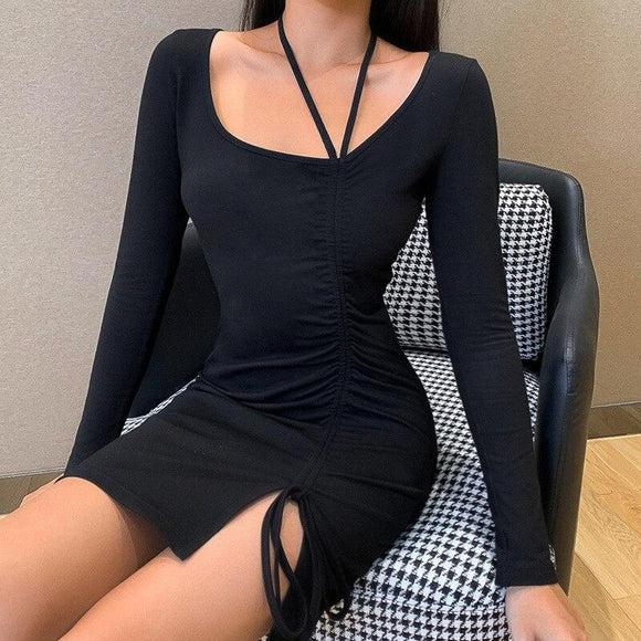 Newest Winter Fashion 2020 Sexy Long Sleeve Draped Black Women Dress Elegant Bodycon Evening Party Dress Vestidos - Swans Today