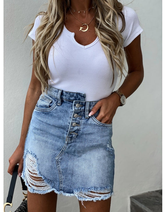 Female Casual Summer Jeans Women Denim Skirt Irregular Bag Hip Ripped Distressed Skirts High Waist Button Up Demin Pencil Skirts