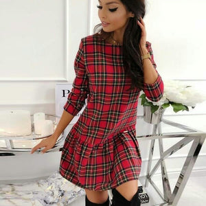 Vintage Girls Plaid Dress A-Line Female Long Sleeve Spring Casual Dresses Woman O Neck Mini Dress 2020 New Women Clothes D30