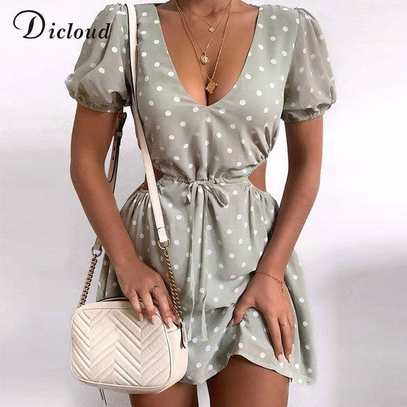 DICLOUD Polka Dot Green Summer Dress Chiffon Sexy Hollow Out Drawstring Waist Mini Day Dress Party Holiday Outfit 2020 Fashion - Swans Today