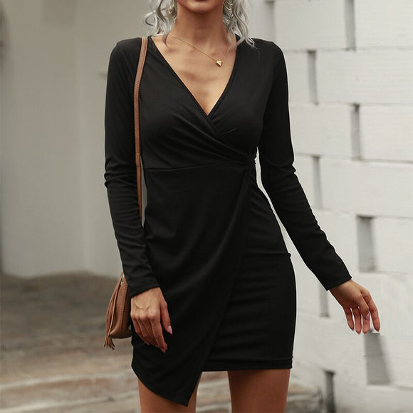 Fashion Sexy Low Cut Black Solid Color Long Sleeve Women Mini Dress 2020 Fall Dress Women Long Sleeve Bodycon Dress