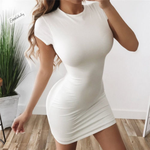 Ladies Short Sleeve Basic Bodycon Dress 2020 Solid Party Dress Sexy Bandage Dresses 2020 Women Lady Summer Clothing Slim Cheap Dress