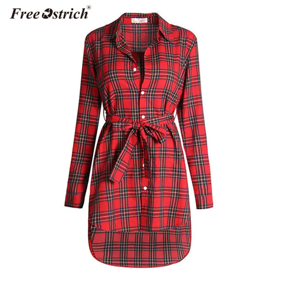Women Vintage Long Sleeve Office Dresses Button  Sexy Irregular Plaid Shirt Dresses Women Clothes A0535