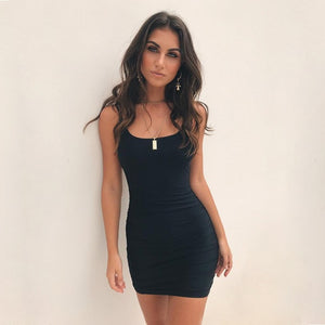 Summer Sexy Black Dress Clothes Backless Spaghetti Straps Bodycon Dress Women Xmas Party Mini Dresses Woman Party Night