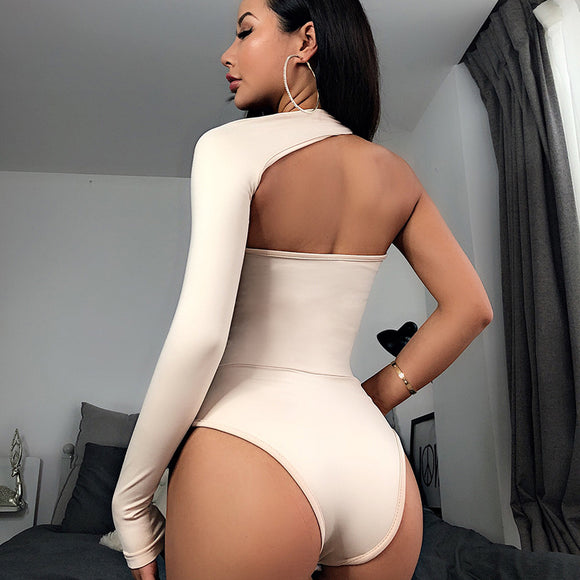 Sexy Bodysuit 2020 Elegant Women long Sleeve Chic One Shoulder Bodysuit 2020