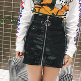 Sexy Women Fashion High Waist Zip Faux Leather Short Pencil Bodycon Mini Skirt 2018 New Solid White Skirt
