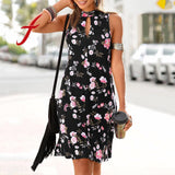 Feitong Womens Casual Bohemian Sleeveless Dress Ladies Printed Above Knee Dress Party Dress Sleeveless Streetwear Halter Dresses - Swans Today