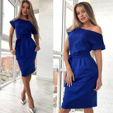 2020 Fashion New Women's Sexy Slash neck Short Sleeve Dress Solid Casual Sashes Party Knee-Length Long Dresses Female Vestidos - Swans Today