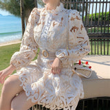 Floral Embroidery Hollow Out Lace Dress 2020 Women Ruffles Stand Collar Long Sleeve Dress 2020 Lantern Sleeve Single-Breasted Sashes Mermaid Mini Dress 2020