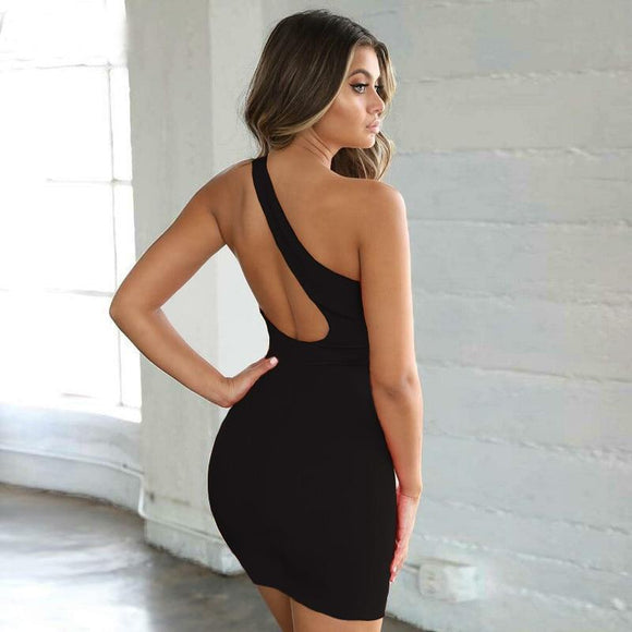 Black Sexy One Shoulder Mini Black Dresses 2020 - Swans Today