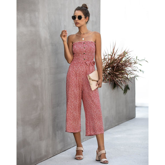 2020 New Summer Floral Print Wide Leg Jumpsuits Women Sexy Off The Shoulder Sashes Jumpsuit Sleeveless Big Size 2XL Jumpsuit - Swans Today