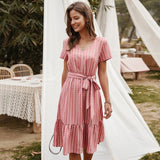 Summer Dresses Women 2020 Elegant V-neck Casual A-Line Midi Dress Vintage Pink Yellow Striped Sashes Lace-up Sundress Veatidos