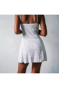 Summer Floral Print Sleeveless Mini Dress 2020 Casual Spaghetti Strap Short Dress 2020Ladies Patchwork Lace White Dress 2020