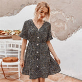 Women's Summer Dress 2020 casual high waist A-Line Fashion speckled Dresses elegant ruffle party mini dress boho ladies sundress
