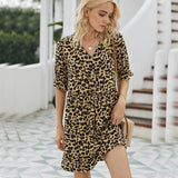 Fashion Summer Dress Women 2020 vintage leopard Print High Waist casual Dress elegant Single-Breasted Boho mini Dresses sundress - Swans Today
