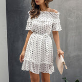 Off Shoulder Polka Dot Dress 2020 Casual Womens Ruffle Printed Dress 2020 Short Sleeve Dress Casual Short Sleeve Polka Dot Dress