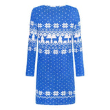 Women Fashion Autumn Winter Long Sleeve Loose Christmas Dresses Ladies Christmas Print  A-line Mini Dress 2020