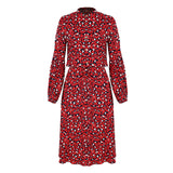 Jessie Vinson Vintage Leopard Print Midi Dress Women Casual Long Sleeve Stand Collar Tunic Long Dress Robe Femme Vestidos Autumn