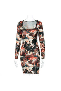 Autumn Sexy Vintage 2020 New Print Long Sleeve Dress Bodycon Evening Party Club Mini Ladies Dresses Fashion Casual Women Clothes - Swans Today
