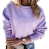 Autumn Fashion Long Sleeve Cute Purple Sweatshirt 2020 Solid Slim Fit Round Neck Hoodies 2020 Fall Loose Tops Purple Streetwear New - Swans Today