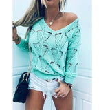 Knitted pullover 2020 Sexy Hollow Out Sweaters with Pullovers Fall-Winter Womens Clothing