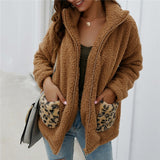 Women Fashion Winter Warm Top Leopard Print Pockets Coats and Jackets Elegant long Sleeve Loose Outwear veste femme Streetwear