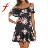 Feitong  Women Summer Dresses Sexy Cold Shoulder Floral Printed Mini Dress Spaghetti Strap Beach Dress vestidos femininos 2020 - Swans Today