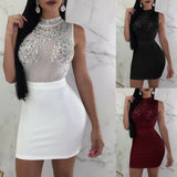 Sexy Summer Dress 2020 Sleeveless Tunic Sexy Fashion Bodycon White Sundress Party Cocktail Short Mini Work Dresses