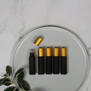 10ml Amber Frosted Glass Roll-On Bottles with Gold Caps (Pack of 5)