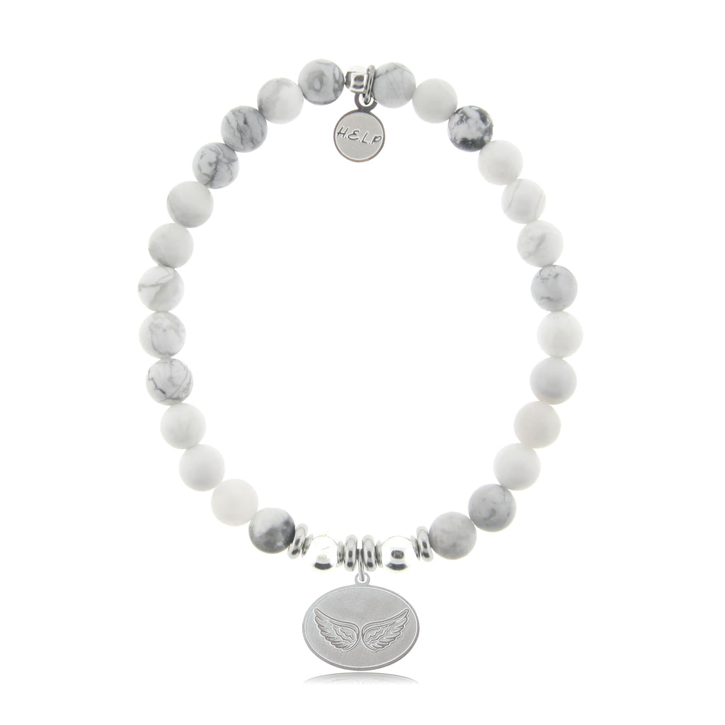 HELP by TJ Angel Wings Charm with Howlite Beads Charity Bracelet